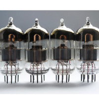 Perfect Quad of 6n23p vacuum tubes with rocket etch (6922 subst.) Tested CCCP