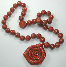 Necklace with Red Coral Beads & Rose Elegant Handcrafted Jewelry