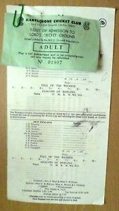 1993 Cricket Scorecard & TICKET- ENGLAND v NEW ZEALAND,1st August