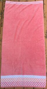 1 Vtg Bath Beach Towel Cotton Orange Geometric Pattern