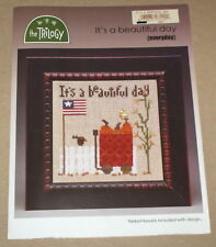 "Trilogy ""It's A Beautiful Day"" Patriotic Cross Stitch Pattern w/ Beads & Charm"