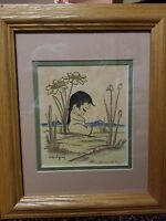 "Vintage Chris Toffersey Pair Boy & Girl Wood & Glass Framed Art Prints 6"" x 5"""
