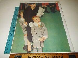 Rare Antique Norman Rockwell Children at Christmas Art Print