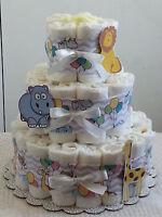 3 Tier Circus Zoo Lavender Chevron Diaper Cake Baby Shower Centerpiece Boy Girl