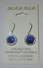 Azul Zafiro Diamante Imitacion RIVOLI Pendientes 12mm colgante NUEVO USA MADE