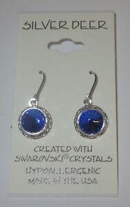 Sapphire Blue Rhinestone Rivoli Earrings 12mm Dangle New USA Made with Swarovski