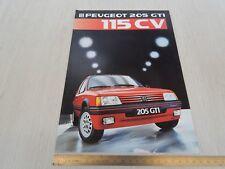 brochure depliant originale Peugeot 205 GTI 1600 115cv apertura poster prospekt