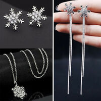 Silver Christmas Snowflake Rhinestone Crystal Necklace Stud Earrings Jewelry Set