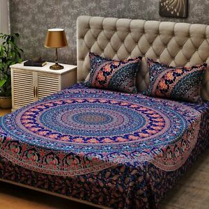 Indian Multi Queen Size Cotton Bed Cover Sheet With 2 Pillow Covers Dorm Decor