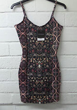 Womens Ladies New Sleeveless Black Floral Autumn Bodycon Fitted Dress(Size8-14)