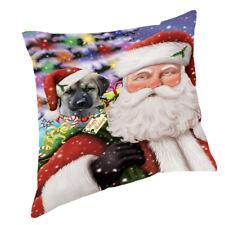 Jolly Old Saint Nick with Anatolian Shepherds Dog Throw Pillow 14x14