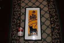 Interesting Spanish Painting Of Bull Cow-Thick Paint-Yellow & Black-Framed-LQQK