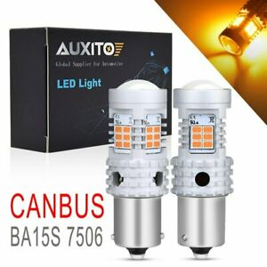 2X AUXITO 1156A 7506 BA15S LED Amber Yellow Turn Signal 100W CANBUS Light Bulbs