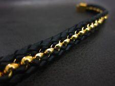 Men Handmade Leather Luxury Gold Black Bracelet for Harley Davidson Biker 174