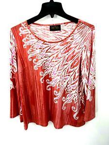 Bob Mackie Womens Medium Red Floral Print Long Sleeve Tunic Top