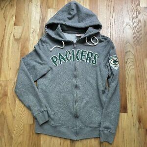 Women's Junk Food Green Bay Packers Heather Gray Zip Up Hoodie Sweatshirt Sz M