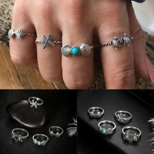 4 Pcs Boho Turtle Shell Starfish Midi Rings for Women Vintage Stone Rings