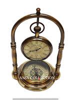 Antique Desk Clock Victoria London Brass Table Desk Clock With Brass Compass