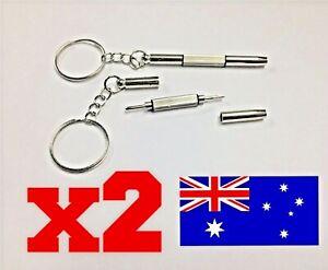 2PC Mini 3in1 Phillips Flat Head Screw Screwdriver Repair Tool Keyring Keychain