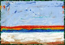 """Dimitris C. Milionis Abstract """"SUNSET"""" Acrylic Painting Signed Greek Artist 1989"""