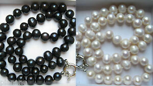 """8-9mm Cultured Pearl Necklace in Black or White 18"""" Long"""