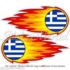 "Grèce Grec fireball-fire-flaming 125mm (5 "") bumper-helmet Autocollants Stickers x2"