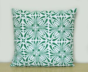 New Indian Collection Of All Size Green & White Hand Block Printed Cushion Cover