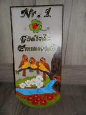 Dachziegel-Stein-handbemalt-lustige Vögel-Wassertrog-wetterfest-Türschild-