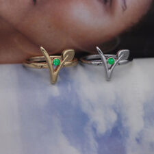 Green Stone Vegan Symbol Ring - Gold or Silver Plated - Cruelty Free Accessory