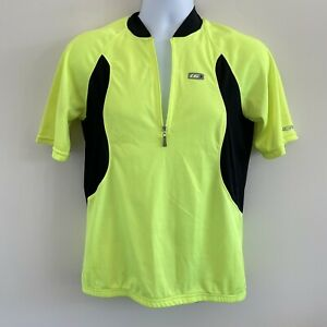 Louis Garneau Cycle Cycling Jersey Size L Large Black/Neon Green/Yellow