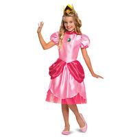 Girls Princess Peach Super Mario Halloween Costume Pink Dress Crown S M L 4T-12