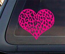 Leopard Print Heart Car Decal / Sticker - Hot Pink