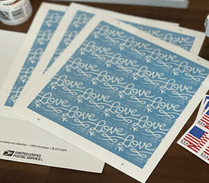 100 - USPS Love Skywriting Forever Stamps. 5 Sheets of 20