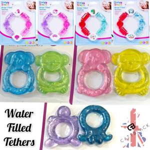 Baby Teething Rings Water Filled BPA Free Cold Freeze Soothe Gums Teether 2 Pack