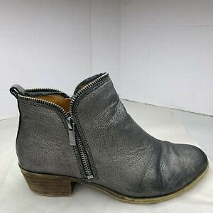 Lucky Brand 8 M Bartalino ankle boots booties sparkle 38 leather pewter
