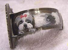 hand painted Shih Tzu on shell inlay    cuff watch