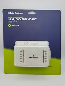White Rodgers M150 White 24V Rectangle Heating/Cooling Mechanical Thermostat