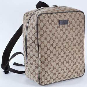 New Gucci 630914 Beige Canvas GG Large Backpack Rucksack Travel Bag
