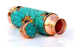 Copper Water Bottles 1 Litre Handcrafted Design with Green Stone Work,  Yoga