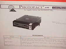 1974 LEAR JET CAR AUTO 8-TRACK STEREO TAPE PLAYER SERVICE SHOP MANUAL MODEL A-20