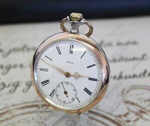 Schöne antike OMEGA GRAND PRIX PARIS 1900 Taschenuhr 0.800 Silber pocket watch
