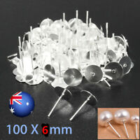 200PCS Earring Stud Posts 6mm Pads & Nut Backs Silvery Surgical Steel DIY Craft