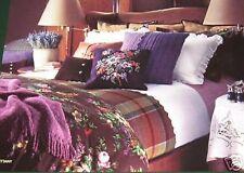 NEW Ralph Lauren BRITTANY KING Flat Sheet Ruffled Plum Purple White Pima Cotton
