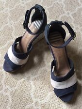 Sperry Top Sider Sandals Women's Blue Ivory Stripes Ankle Buckle Open Toe Sz 6M