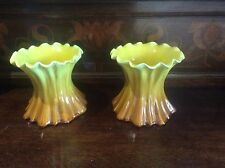 Pair British Art Pottery Vases c1890 Fab Yellow Brown glazes Thumb Pinched lips