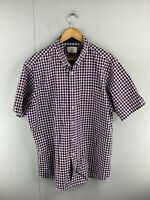 Gazman Men's Short Sleeved Button Up Shirt Size XL Blue Red Check