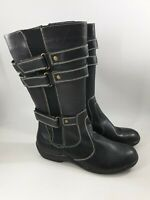Foot Fashion size 5 (38) black faux leather side zip wedge heel mid calf boots
