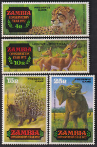 ZAMBIA 1972 CONSERVATION YEAR WILDLIFE ANIMALS 4v FINE MNH STAMPS
