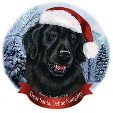 Holiday Pet Gifts Flat Coated Retriever Santa Hat Dog Porcelain Ornament