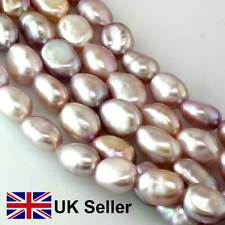 9mm freshwater baroque pearl loose string, vivid lilac, by Pearls Direct